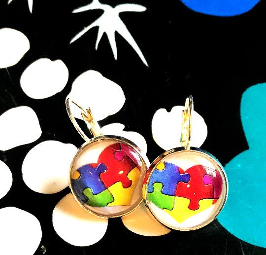 Autism Heart cabochon earrings- 16mm