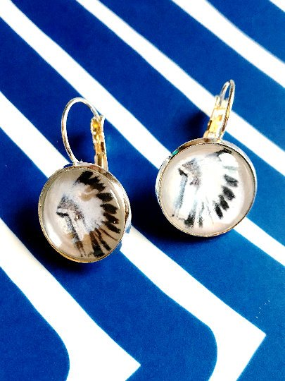 Tribal Head dress cabochon earrings- 16mm