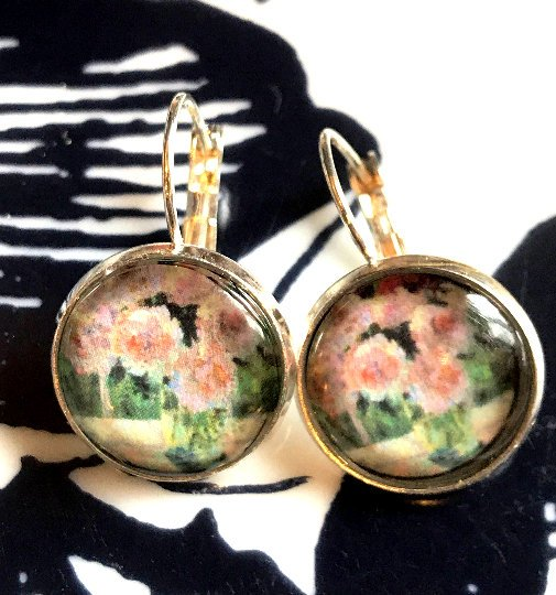 Monet's Roses cabochon earrings- 16mm