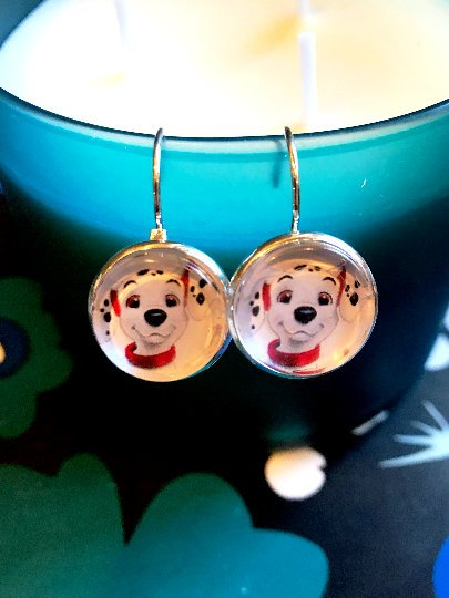 101 Dalmatians Lucky cabochon earrings- 16mm