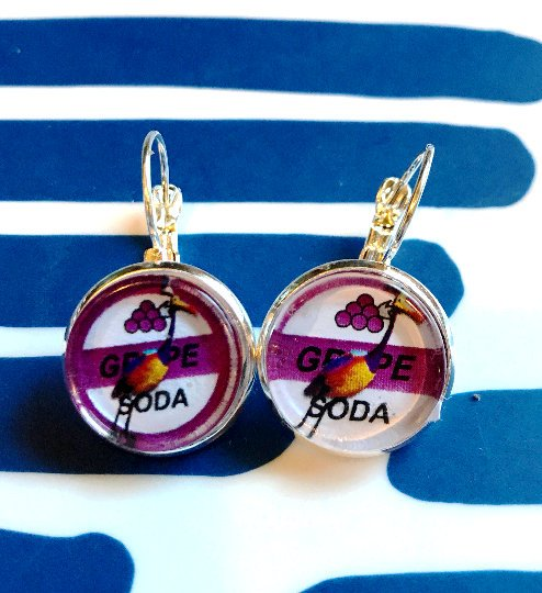 Up Grape Soda cabochon earrings- 16mm