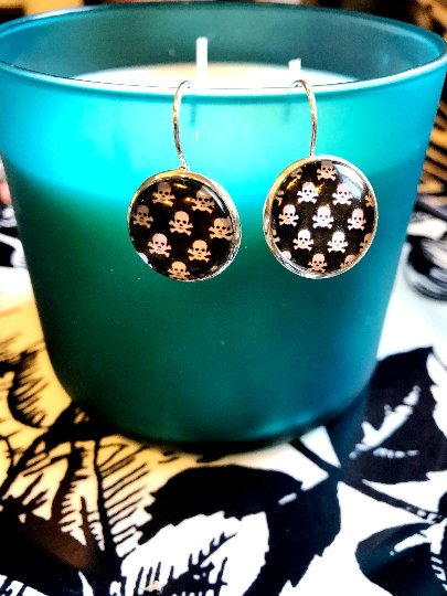 Skulls cabochon earrings- 16mm
