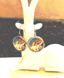 Beauty and the Beast glass cabochon earrings - 16mm