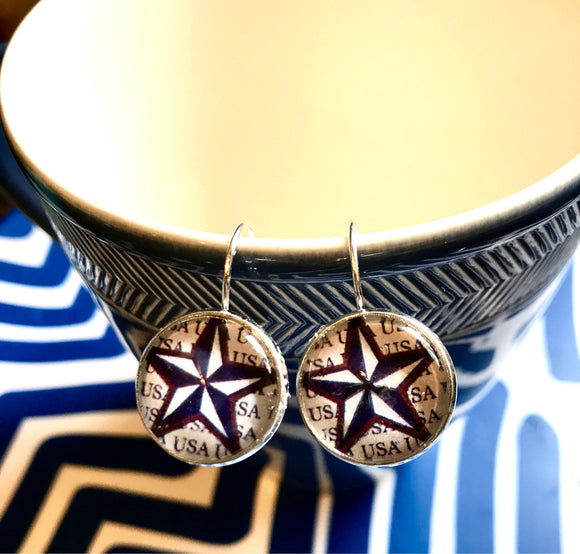 USA star cabochon earrings- 16mm