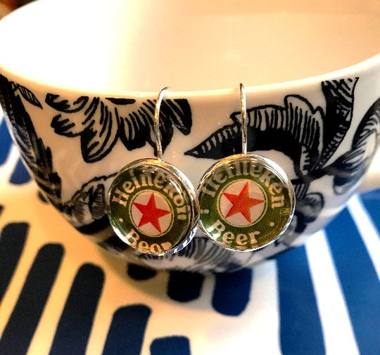 Heineken Beer cabochon earrings- 16mm