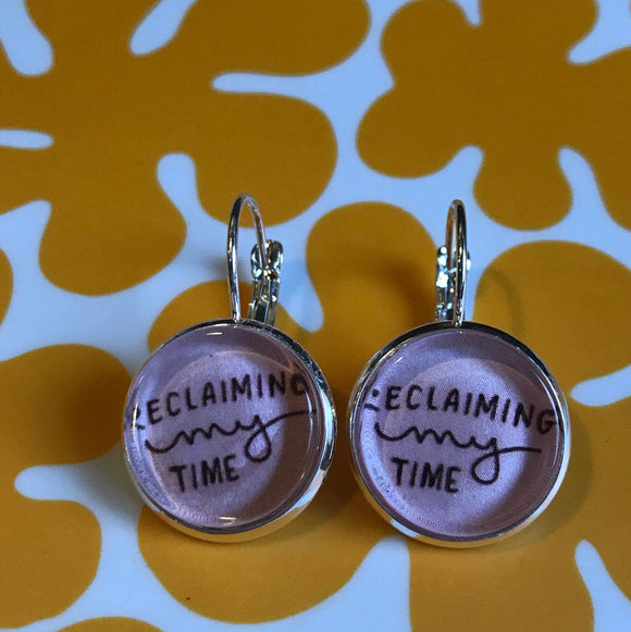 Feminist Reclaiming My Time Maxine Waters cabochon earrings- 16mm