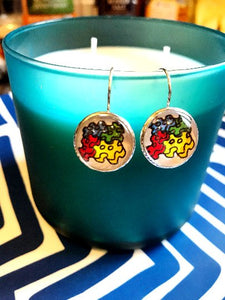 Autism awareness glass cabochon earrings- 16mm