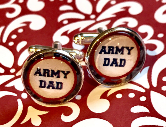 Army Dad glass cabochon cufflinks - 16mm