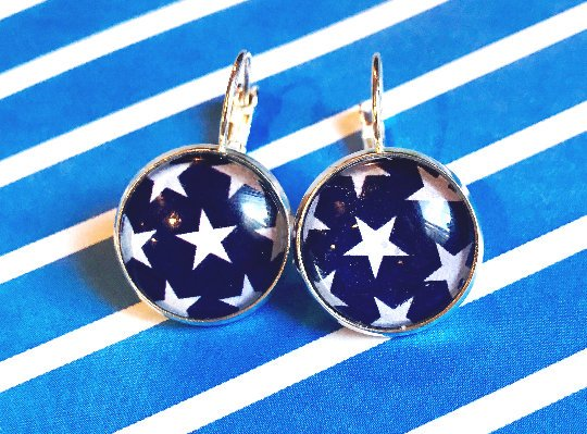 American flag stars glass cabochon earrings - 16mm