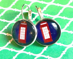 British phone box glass cabochon earrings - 16mm