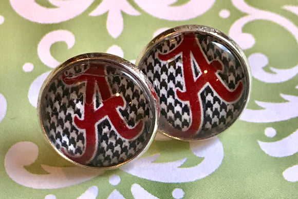 Alabama Crimson Tide glass cabochon earrings - 16mm