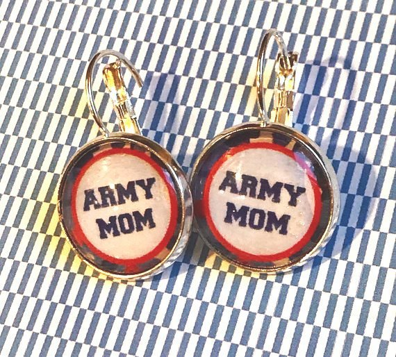 Army mom glass cabochon earrings - 16mm
