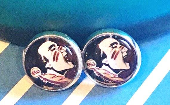 Florida State Seminoles glass cabochon earrings - 16mm