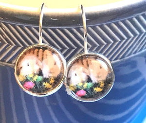 Easter Bunny glass cabochon earrings - 16mm