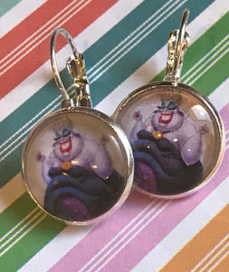 Ursula The Little Mermaid glass cabochon earrings - 16mm