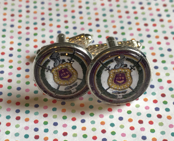 Omega Psi Phi glass cabochon cuff links - 16mm