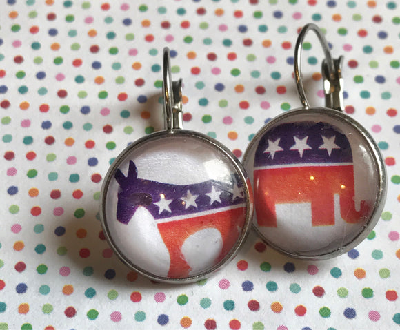 Political parties glass cabochon earrings - 16mm