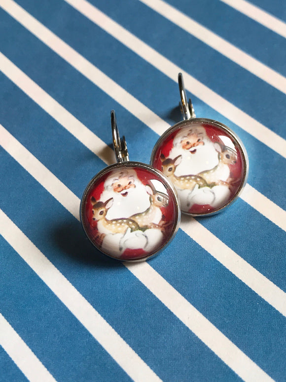Santa with deer glass cabochon earrings - 16mm