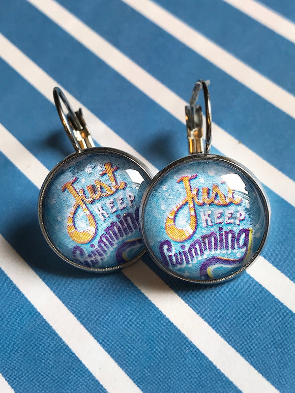 Just keep swimming glass cabochon earrings - 16mm