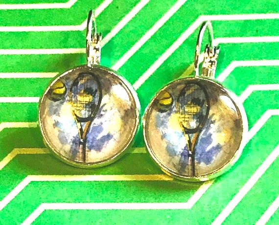 Tennis racket and ball cabochon earrings - 16mm