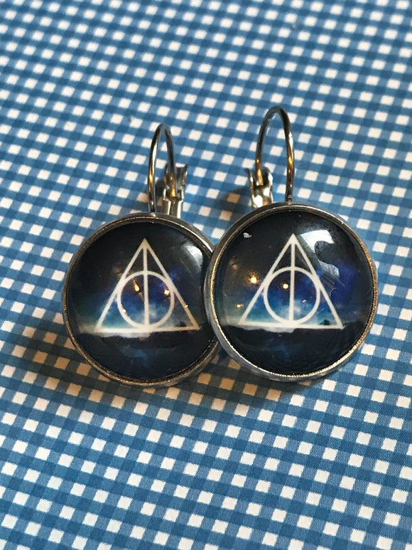 Deathly Hallows glass cabochon earrings- 16mm