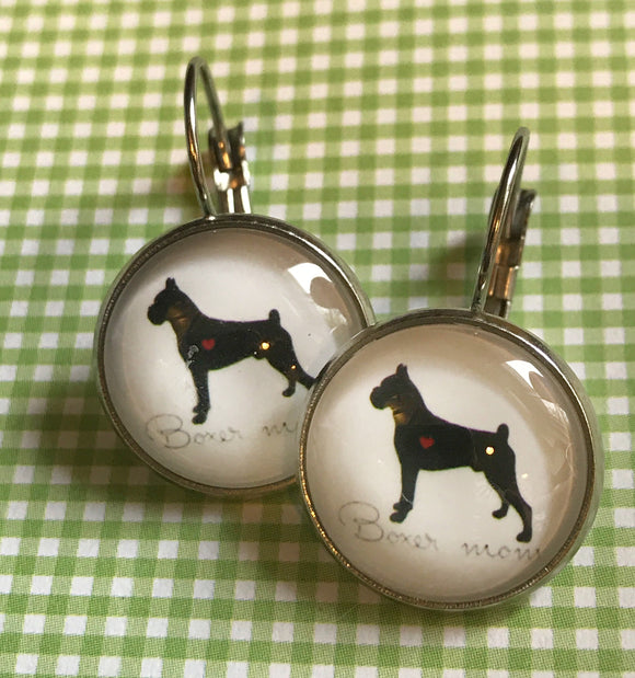 Boxer dog glass cabochon earrings- 16mm