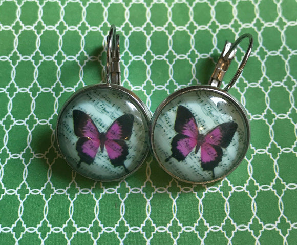 Purple butterfly glass cabochon earrings - 16mm