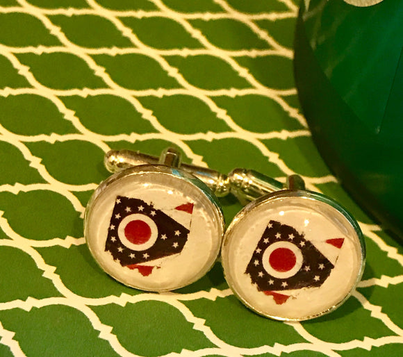State of Ohio and flag cabachon cuff links - 16mm