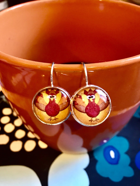 Thanksgiving turkey cabachon earrings - 16mm