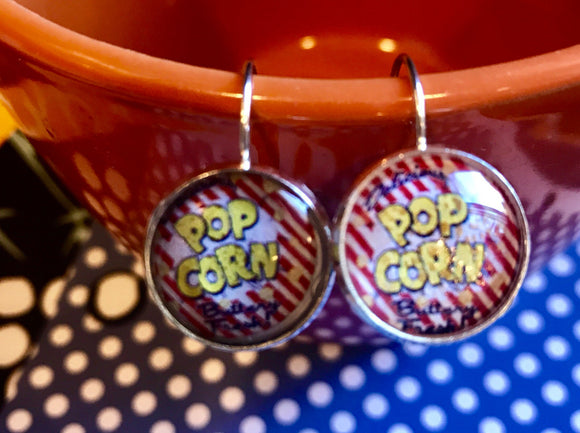 Jiffy Pop Popcorn cabachon earrings - 16mm