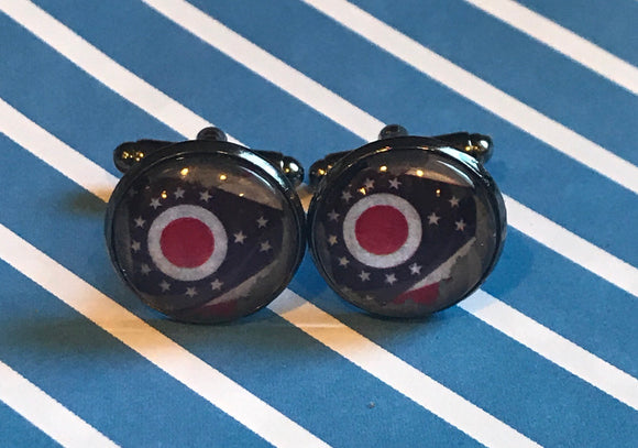 State of Ohio with flag cabochon cuff links - 16mm
