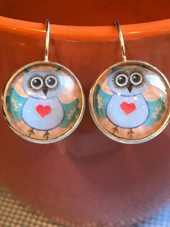 Owl cabochon earrings - 16mm