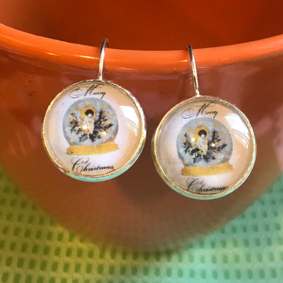 Merry Christmas angel snow globe cabochon earrings - 16mm