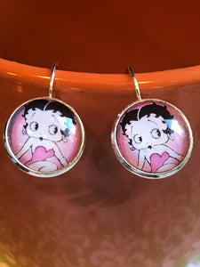 Betty Boop cabochon earrings - 16mm