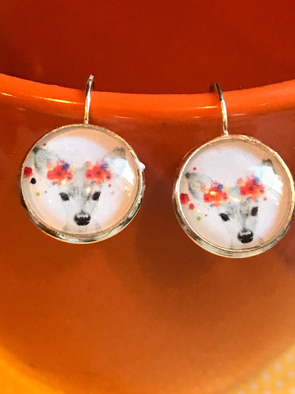 Deer cabochon earrings - 16mm