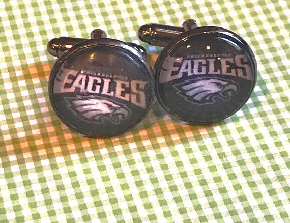 Philadelphia Eagles cabochon cuff links - 16mm