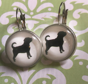 Rottweiler dog glass cabochon earrings - 16mm