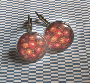 Red and orange flowers glass cabochon earrings - 16mm