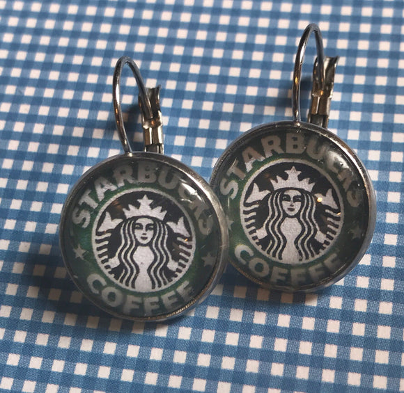 Starbucks glass cabochon earrings - 16mm