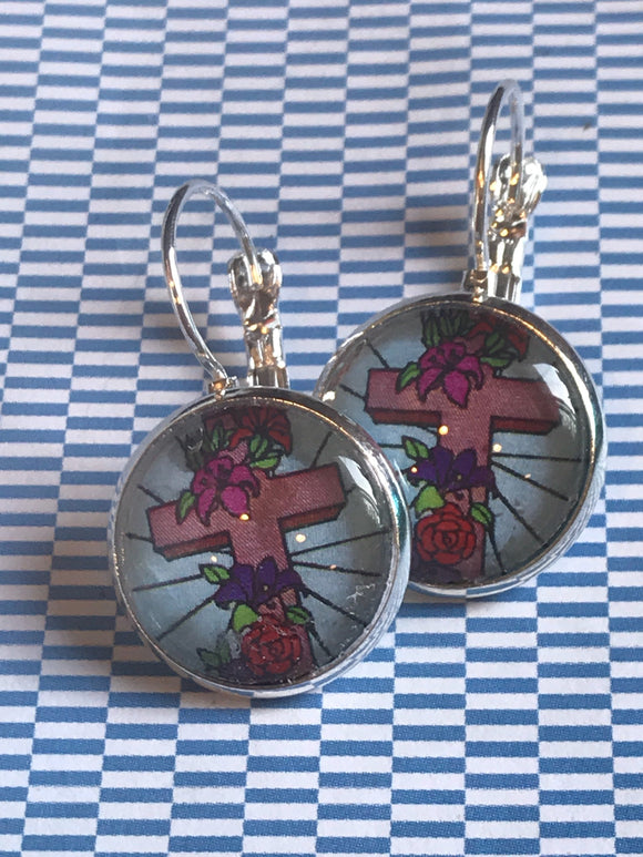 Floral cross glass cabochon earrings - 16mm