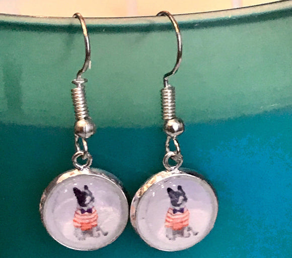 Boston terrier cabochon earrings - 12mm