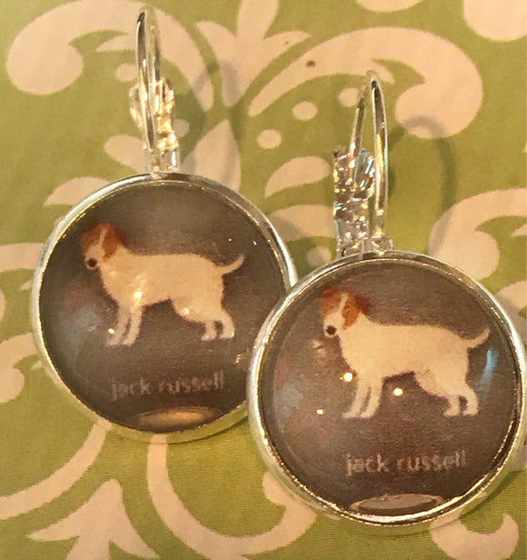 Jack Russell terrier glass cabochon earrings - 16mm