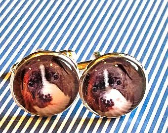 Boxer cabachon cufflinks - 16mm