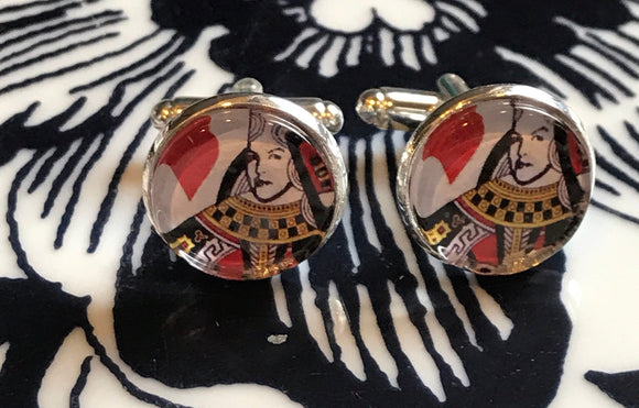 Queen of Hearts glass cabochon cufflinks- 16mm