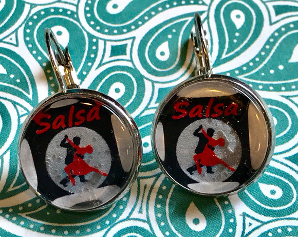 Salsa dancing cabochon earrings - 16mm