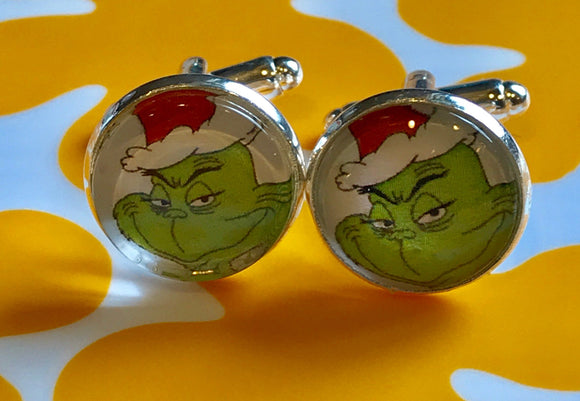 The Grinch cabochon cufflinks - 16mm