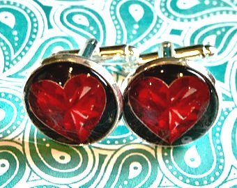Playing card Heart cabochon cufflinks - 16mm