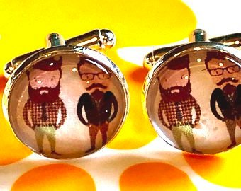 Hipster guys cabochon cufflinks - 16mm