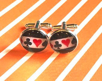 Playing card suit cabachon cufflinks - 16mm