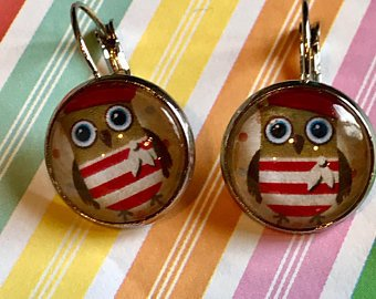Owl with beret earrings - 16mm
